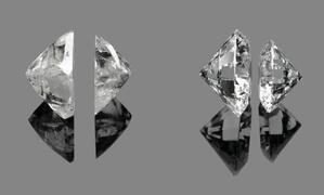 A demonstration of how rough diamonds can be divided before being cut into round brilliants.