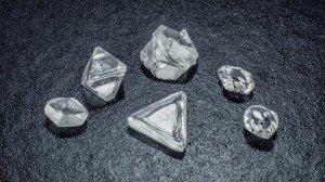 Group of natural diamond crystals.