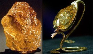 """The """"Incomparable"""" in its rough 890ct form on the left, and the finished 407.48ct stone in its gold ornament stand, right."""